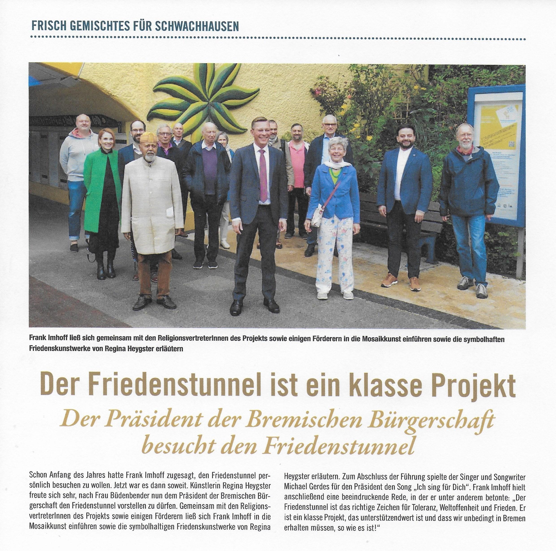 Bürgerschaftspräsident Frank Imhoff lobt den Friedenstunnel